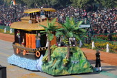 A float representing the Indian state of Kerala rolls down the ceremonial boulevard Rajpath during the Republic Day parade in New Delhi on January 26...