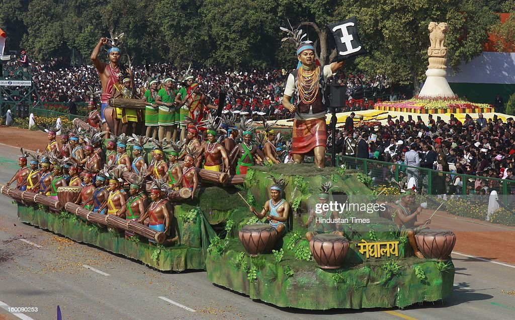 A float representing the Indian state of Meghalay ( Hundred Drums Wangala Festival) rolls down the ceremonial boulevard Rajpath during the 64th Republic Day parade celebration on January 26, 2013 in New Delhi, India. India marked its Republic Day with celebrations held under heavy security, especially in New Delhi where large areas were sealed off for an annual parade of military hardware.
