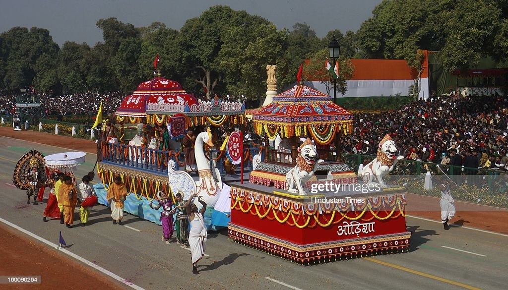 A float representing the Indian state of Odisha ( Chandan Yatra of lord Jagannath) rolls down the ceremonial boulevard Rajpath during the 64th Republic Day parade celebration on January 26, 2013 in New Delhi, India. India marked its Republic Day with celebrations held under heavy security, especially in New Delhi where large areas were sealed off for an annual parade of military hardware.