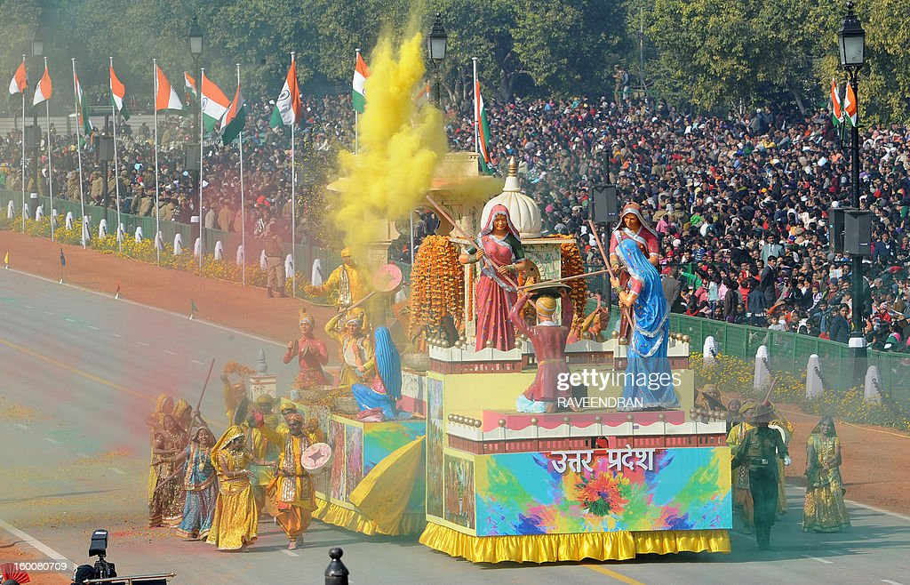 A float representing the Indian state of Uttar Pradesh rolls down the ceremonial boulevard Rajpath during the Republic Day parade in New Delhi on January 26, 2013. India marked its Republic Day with celebrations held under heavy security, especially in New Delhi where large areas were sealed off for an annual parade of military hardware at which Bhutan's king Jigme Khesar Namgyel Wangchuck was chief guest.
