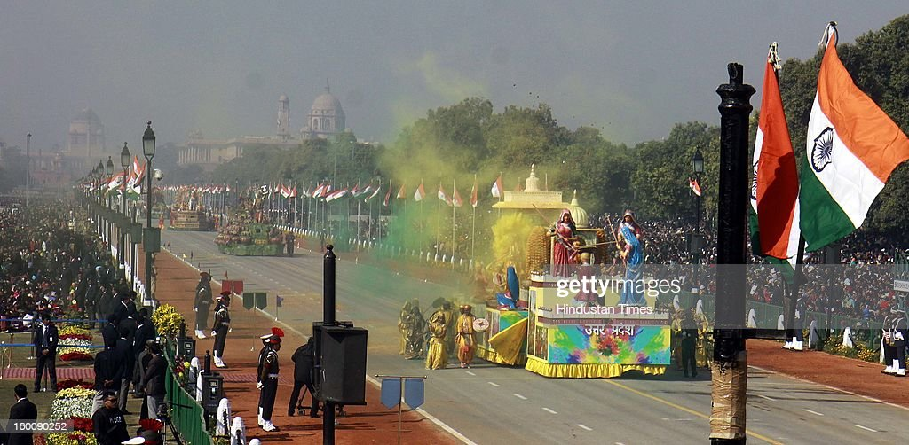 A float representing the Indian state of Uttar Pradesh ( Brij Ki Holi) rolls down the ceremonial boulevard Rajpath during the 64th Republic Day parade celebration on January 26, 2013 in New Delhi, India. India marked its Republic Day with celebrations held under heavy security, especially in New Delhi where large areas were sealed off for an annual parade of military hardware.