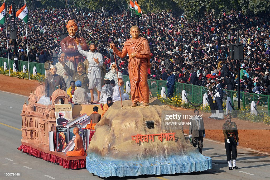 A float representing the Indian state of West Bengal rolls down the ceremonial boulevard Rajpath during the Republic Day parade in New Delhi on January 26, 2013. India marked its Republic Day with celebrations held under heavy security, especially in New Delhi where large areas were sealed off for an annual parade of military hardware at which Bhutan's king Jigme Khesar Namgyel Wangchuck was chief guest.