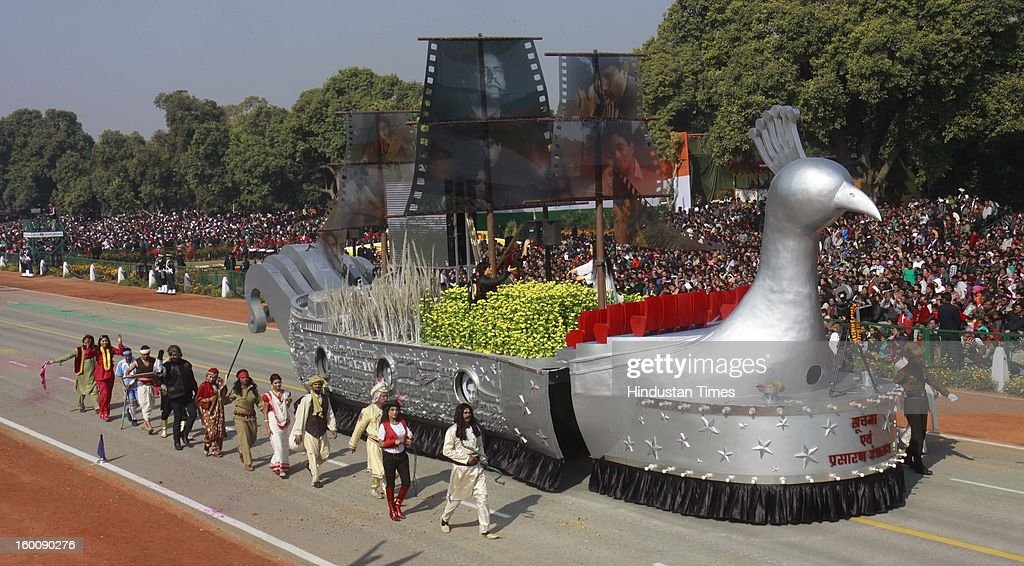 A float representing the Ministry of Information and broadcasting (Cinema Mayur Pankhi) rolls down the ceremonial boulevard Rajpath during the 64th Republic Day parade celebration at Raj path on January 26, 2013 in New Delhi, India. India marked its Republic Day with celebrations held under heavy security, especially in New Delhi where large areas were sealed off for an annual parade of military hardware.