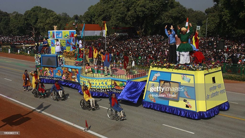 A float representing the Ministry of Social justice Empowerment ( Inclusion accessibility and Empowerment of persons with disabilities ) rolls down the ceremonial boulevard Rajpath during the 64th Republic Day parade celebration at Raj path on January 26, 2013 in New Delhi, India. India marked its Republic Day with celebrations held under heavy security, especially in New Delhi where large areas were sealed off for an annual parade of military hardware.