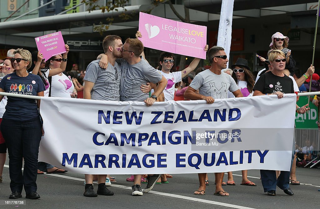 A float supporting gay marriage moves down Ponsonby Road during the Pride parade on February 16, 2013 in Auckland, New Zealand. The gay parade, celebrating lesbian, gay, bisexual and transgender (LGBT) culture has returned to Ponsonby Road after 10 years and organisers plan to put the parade on the tourism map, in the style of the Sydney Mardi Gras.