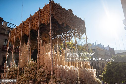 A float taking part in processions during Semana Santa (Holy Week), Seville, Andalucia, Spain