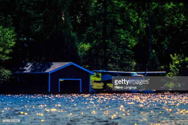 Floating dock and seaplane, Laurentian region in summer, Quebec, Canada