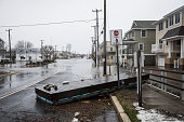 A floating dock sits on the sidewalk following flooding during a blizzard January 23 2016 in Stone Harbor New Jersey A major snowstorm is upon the...