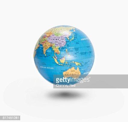 Floating globe with Australia & China visible