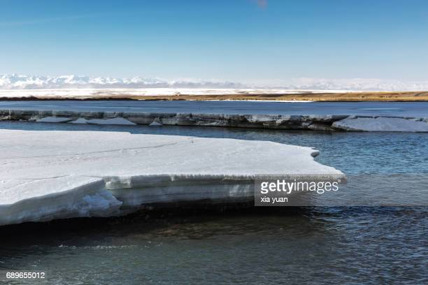 Floating ice sheets on river against Tianshan Mountain,Bayanbulak,China