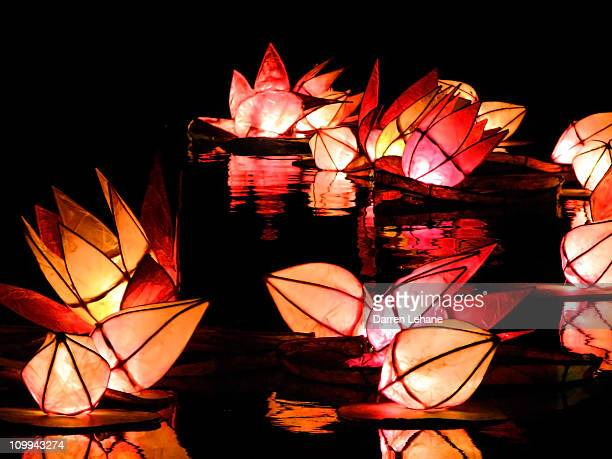 Floating lanterns during Diwali