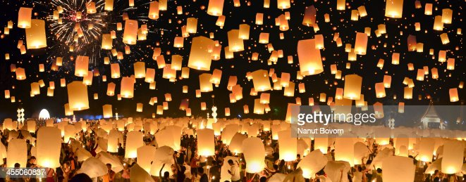 Floating Lanterns : Yi Peng in Thailand : Panorama