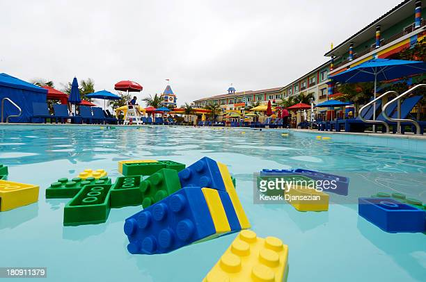 Floating lego bricks in the pool of North America's first ever Legoland Hotel at Legoland on September 17 2013 in Carlsbad California The threestory...