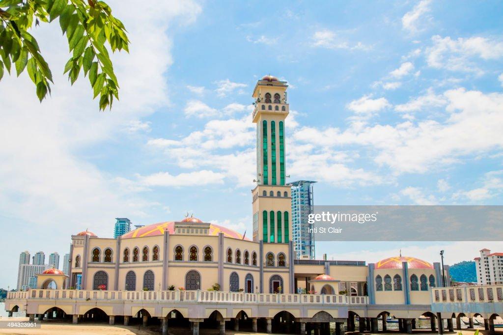 Floating Mosque under blue sky, Tanjung Bungah, Penang, Malaysia : Stock Photo