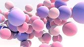 3d illustration Floating Multicolored Balls Background