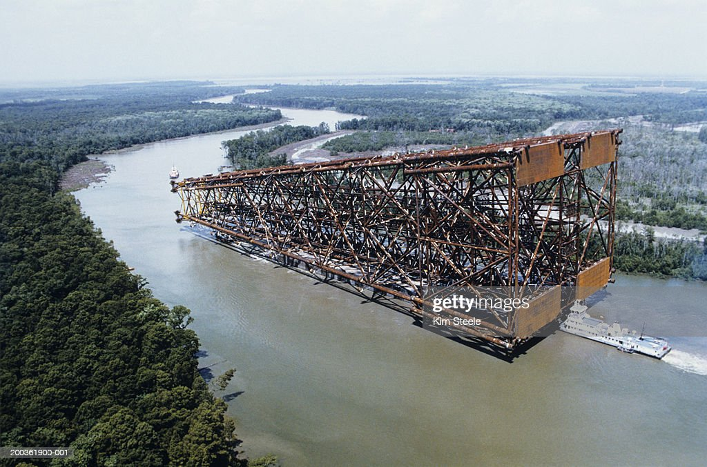 Floating oil platform jacket, cerveza New Orleans, aerial view : Stock Photo
