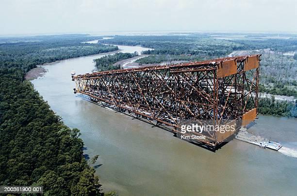 Floating oil platform jacket, cerveza New Orleans, aerial view