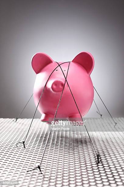 floating piggy bank being held down by rope