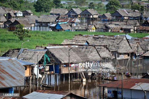 Floating shacks of Belen, Iquitos : Stock Photo