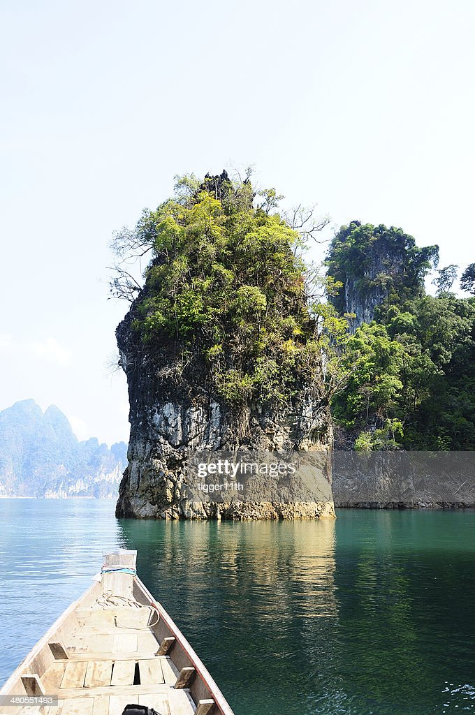 Floating ship in Ratchaprapa dam Suratthani, Thailand : Stock Photo