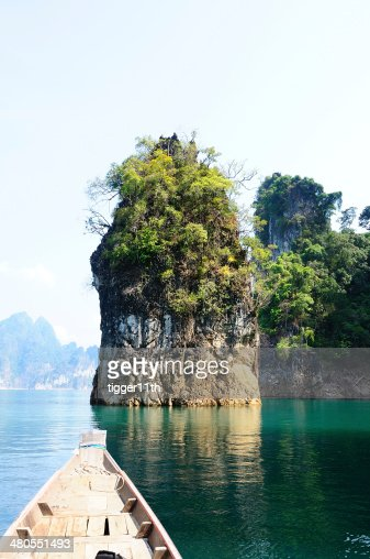 Floating ship in Ratchaprapa dam Suratthani, Thailand : Stock Photo