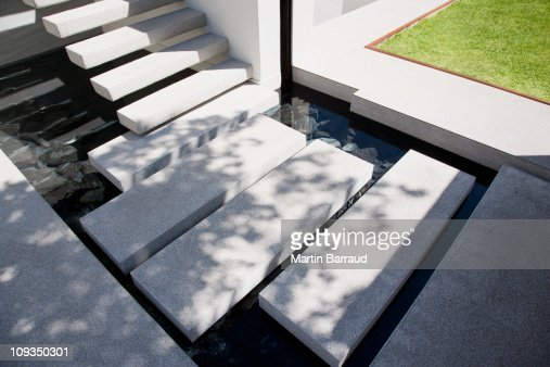 Floating stairs over outdoor pond in backyard stock photo for Free floating stairs