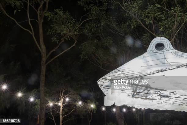 Floating Stingray installation one of the giant illuminated animal sculptures on display at Taronga Zoo is seen during a media call ahead of Vivid...