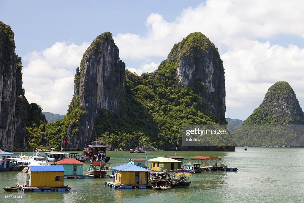 Floating villas in halong bay, in Vietnam