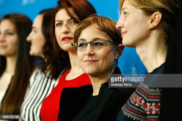 Flonja Kodheli Laura Bispuri and Alba Rohrwacher attend the 'Sworn Virgin' photocall during the 65th Berlinale International Film Festival at Grand...