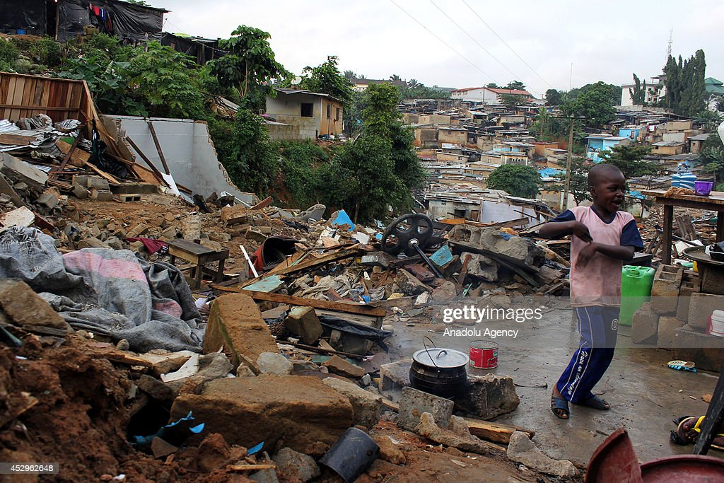 Flood and landslide occured due to heavy rain and buildings are destroyed in Abidjan, Ivory Coast on 31 July, 2014.