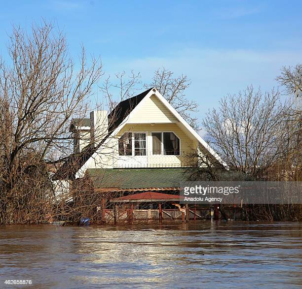 Flood caused by overflow of the rivers affects daily life in Edirne Turkey on February 02 2015