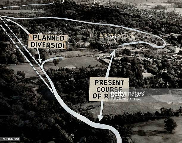 Flood control plans for the Etobicoke river involving a threeway split of costs between three levels of government would divert the stream from...