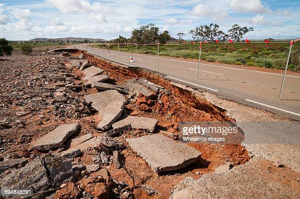 Flood damage to road in outback South Australia