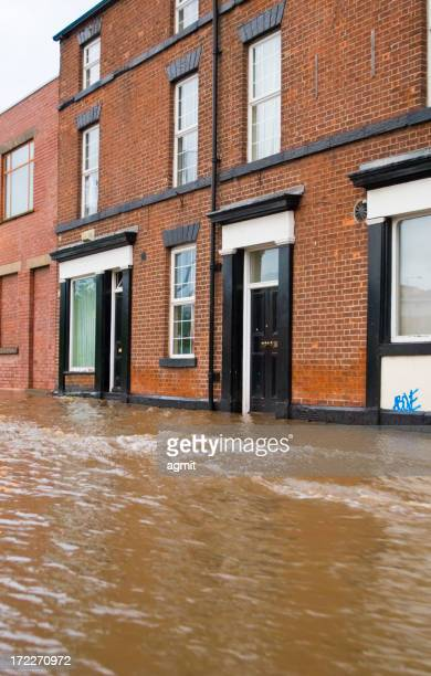 Flood in front of a brick building