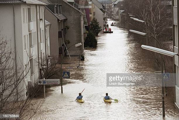 Flood of the river Rhine in Bonn Beuel Boats / kayaks in the flooded streets