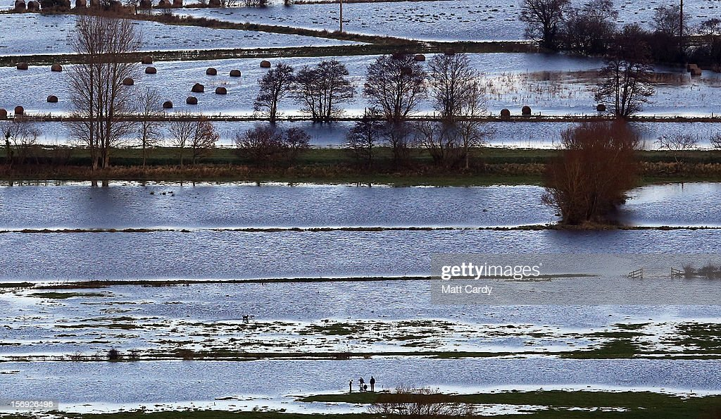 Flood water can be seen in fields surrounding the Glastonbury Tor on the Somerset Levels, on November 25, 2012 near Glastonbury, England. Another band of heavy rain and wind continued to bring disruption to many parts of the country today particularly in the south west which was already suffering from flooding earlier in the week.