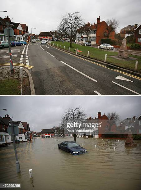 In this composite image a comparison has been made between Datchet photographed on February 19 2014 and on February 12 2014 DATCHET UNITED KINGDOM...