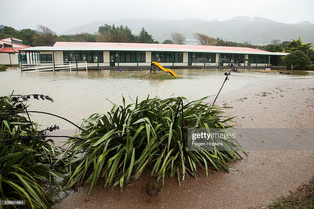 Flood water surrounds Porirua School after heavy rain caused flooding on May 5, 2016 in Porirua, New Zealand. Severe rain warnings have been issued for the bottom of the North Island, and and several schools and parts of the city have been closed due to surface floosing