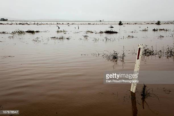 Flood waters are seen over farmland on January 11 2011 in Oakey Australia 10 people so far have been confirmed dead in towns in the Lockyer Valley...
