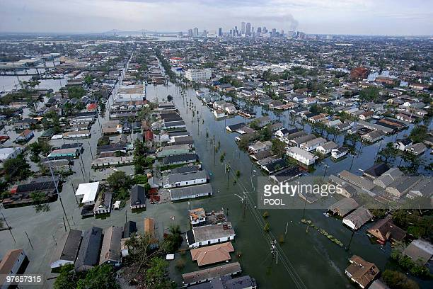 Flood waters from Hurricane Katrina cover streets 30 August 2005 in New Orleans Louisiana It is estimated that 80 percent of New Orleans is under...