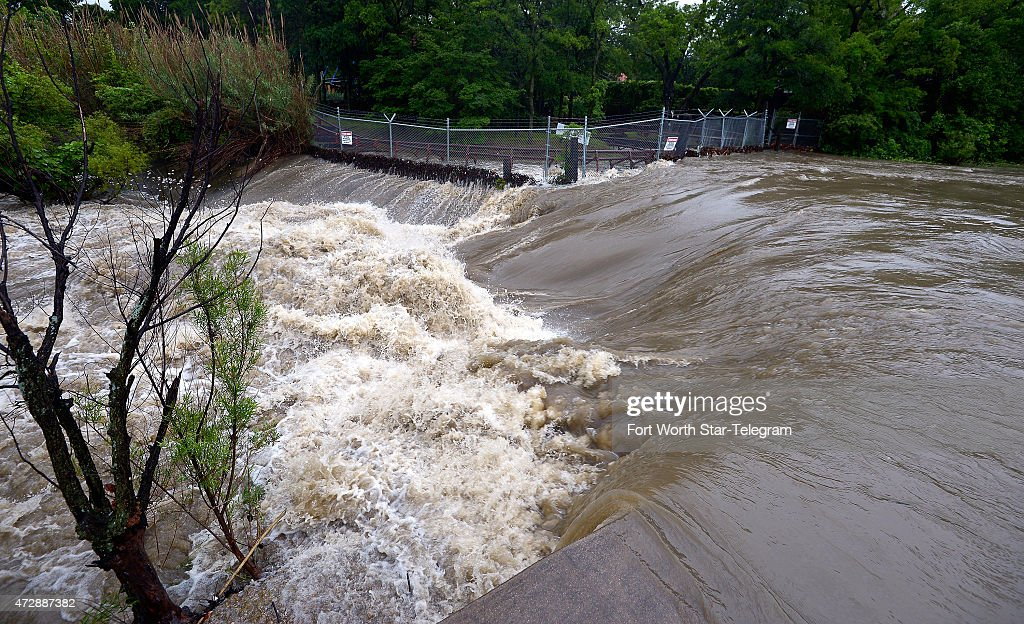 Flood waters in Johnson Creek just outside of Six Flags in Arlington Texas on Sunday May 10 as rain continues to pound the North Texas area