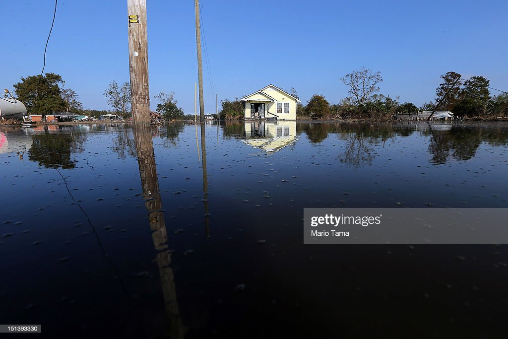 Flood waters linger in Plaquemines Parish on September 6 2012 in Braithwaite Louisiana Louisiana officials estimate that at least 13000 homes were...