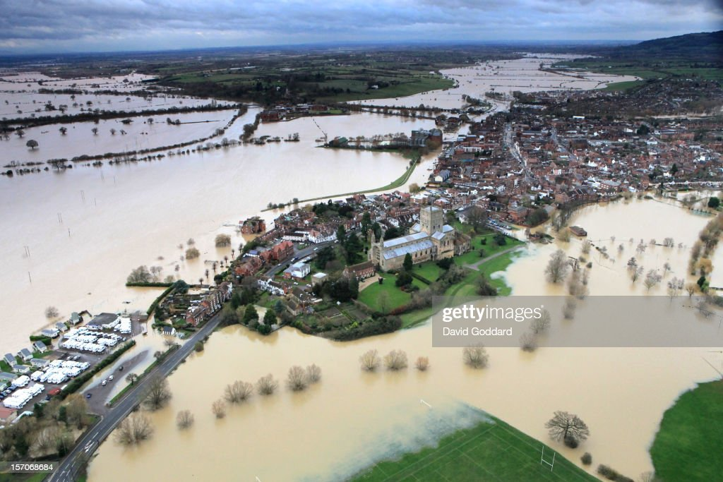 Flood waters of the river Avon and the river Severn suround the town of Tewkesbury in this aerial photograph, on November 27, 2012 in Tewkesbury, England. Floodwaters threaten hundreds of homes in Wales and England, as river levels continue to rise, exacerbated by further water running into already saturated areas.