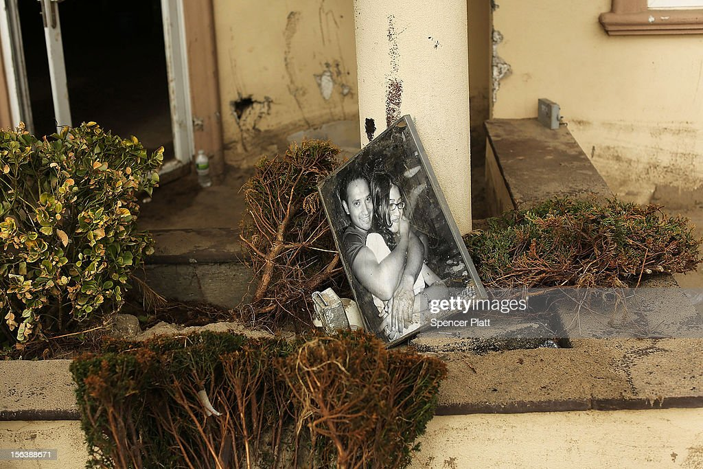 A flood-damaged picture lies in a bush in the heavily damaged Rockaway neighborhood where a large section of the iconic boardwalk was washed away on November 14, 2012 in the Queens borough of New York City. Two weeks after Superstorm Sandy slammed into parts of New York and New Jersey, thousands are still without power and heat.