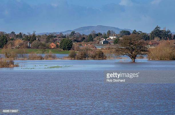 Flooded fields along the banks of the River Teme at its confluence with the River Severn on February 11 2014 in Worcester England The Environment...