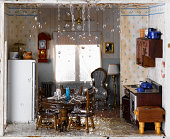 Flooded house and ceiling leaking water into kitchen