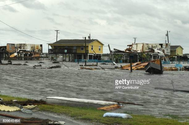 Flooded houses after Hurricane Harvey hit Rockport Texas on August 26 2017 / AFP PHOTO / MARK RALSTON