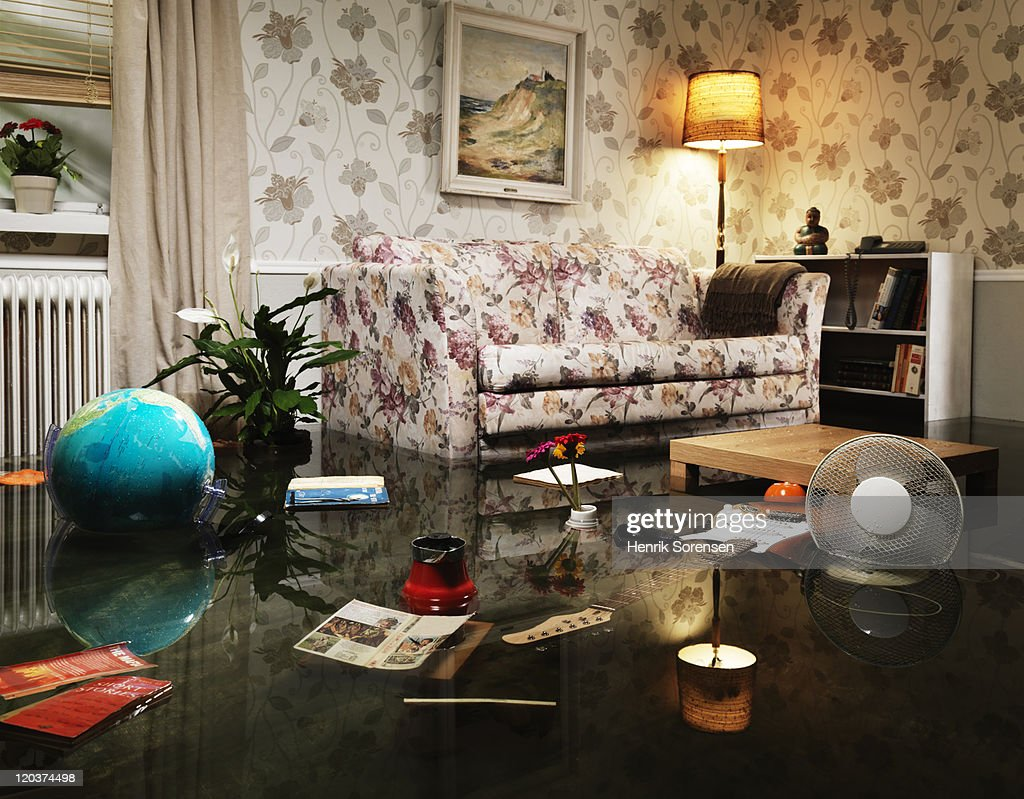flooded living room : Stock Photo