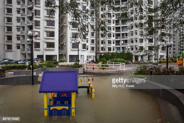 A flooded playground is flooded as Typhoon Hato hits Hong Kong on August 23 2017 in Hong Kong Hong Kong Hong Kong's weather authorities raised...