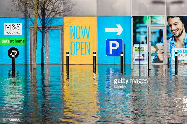 Flooded street and shops in Leeds